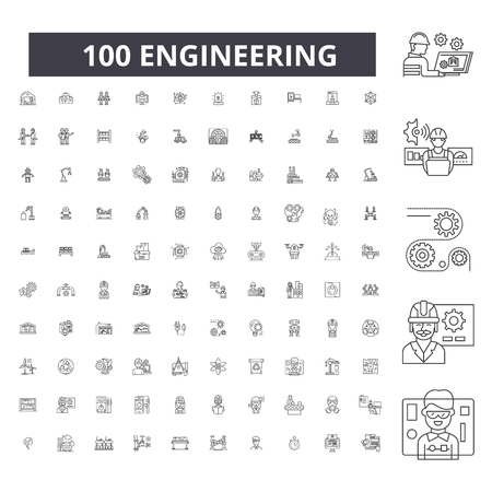 Engineering editable line icons, 100 vector set on white background. Engineering black outline illustrations, signs, symbols