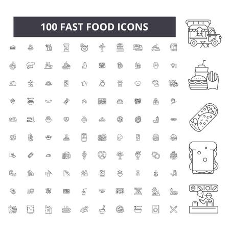Fast food editable line icons, 100 vector set on white background. Fast food black outline illustrations, signs, symbols