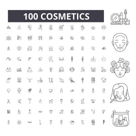 Kosmetik bearbeitbare Liniensymbole, 100 Vektor-Set auf weißem Hintergrund. Kosmetik schwarze Umrissillustrationen, Zeichen, Symbole