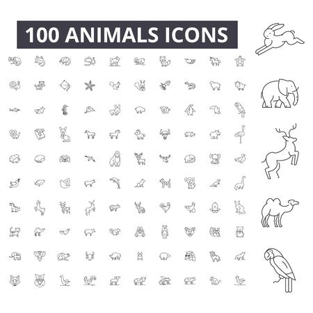 Zwierzęta można edytować linii ikony, 100 wektor zestaw na białym tle. Ilustracje zwierząt czarny kontur, znaki, symbole Ilustracje wektorowe