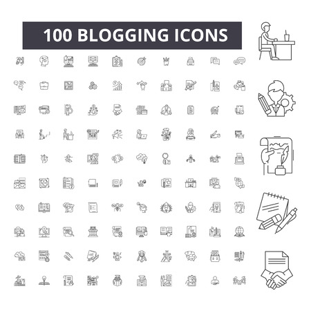 Blogging editable line icons, 100 vector set on white background. Blogging black outline illustrations, signs, symbols