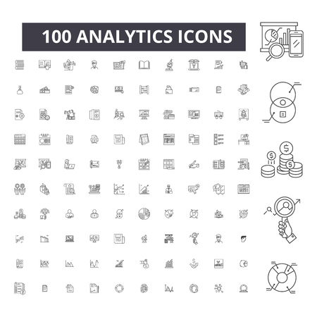 Analytics editable line icons, 100 vector set on white background. Analytics black outline illustrations, signs, symbols