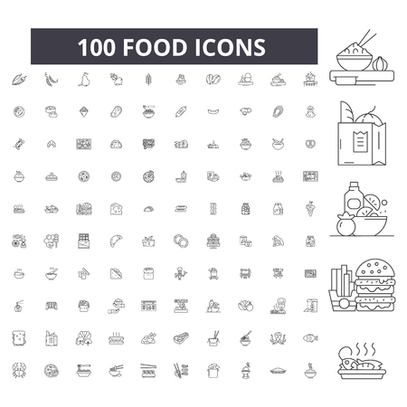 Ikony edycji linii żywności, 100 wektor zestaw na białym tle. Ilustracje żywności czarny kontur, znaki, symbole
