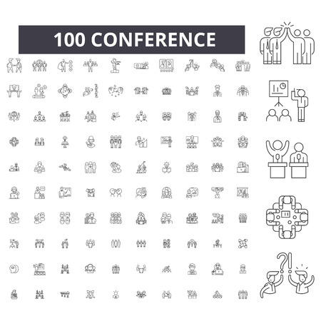 Conference editable line icons, 100 vector set on white background. Conference black outline illustrations, signs, symbols