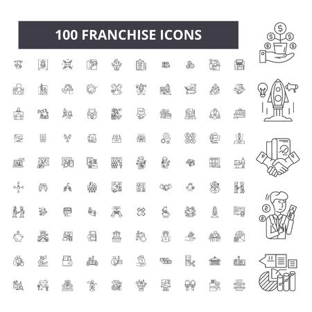 Franchise editable line icons, 100 vector set on white background. Franchise black outline illustrations, signs, symbols Illustration