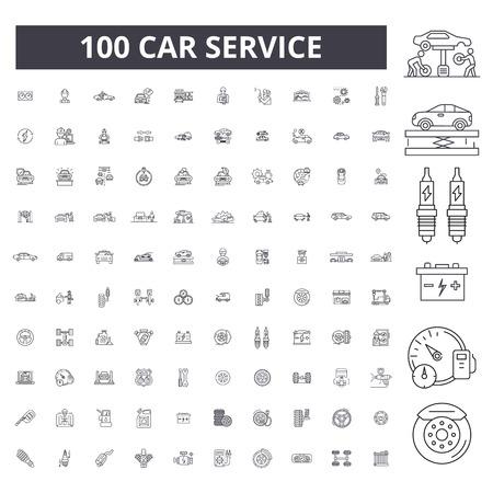 Auto service bewerkbare lijn pictogrammen, 100 vector ingesteld op witte achtergrond. Autoservice zwarte omtrek illustraties, tekens, symbolen