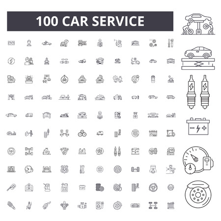 Car service editable line icons, 100 vector set on white background. Car service black outline illustrations, signs, symbols Foto de archivo - 116430863