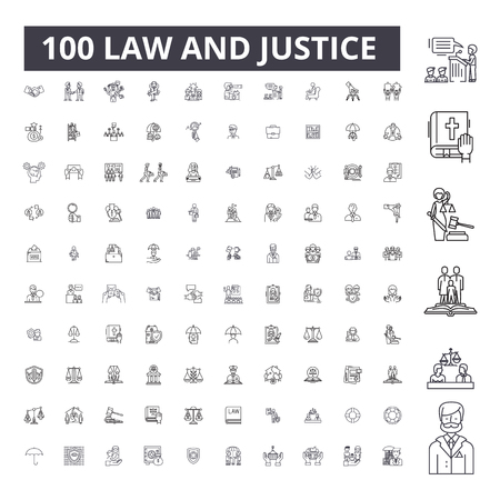 Law justice editable line icons, 100 vector set on white background. Law justice black outline illustrations, signs, symbols