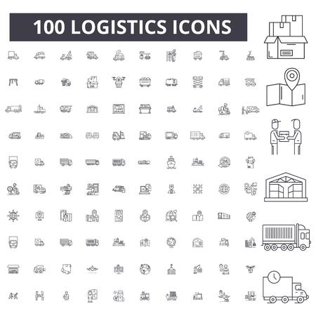 Logistica della linea modificabile icone, 100 vettore impostato su sfondo bianco. Logistica contorno nero illustrazioni, segni, simboli Vettoriali