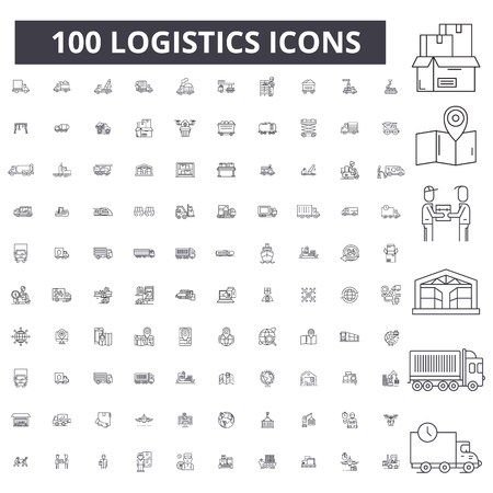 Logistics editable line icons, 100 vector set on white background. Logistics black outline illustrations, signs, symbols Vettoriali