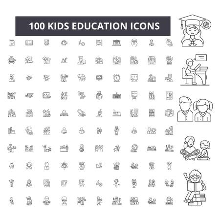 Kids education editable line icons, 100 vector set on white background. Kids education black outline illustrations, signs, symbols