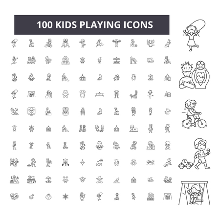 Kids playing editable line icons, 100 vector set on white background. Kids playing black outline illustrations, signs, symbols Stock Illustratie
