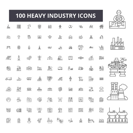 Heavy industry editable line icons, 100 vector set on white background. Heavy industry black outline illustrations, signs, symbols Ilustração