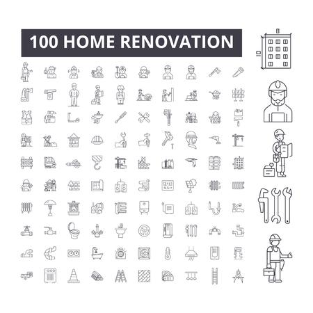 Icônes de ligne modifiable de rénovation domiciliaire, 100 vector set sur fond blanc. Illustrations, signes, symboles de contour noir de rénovation domiciliaire