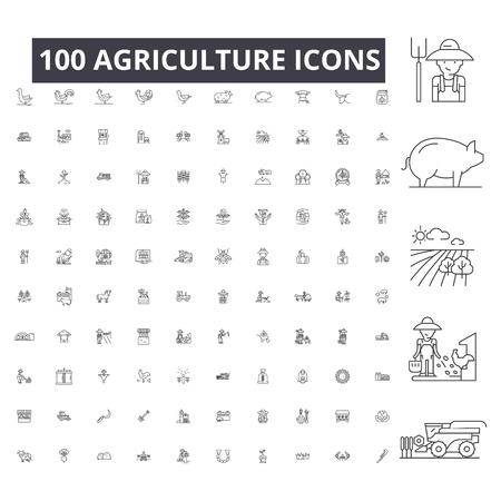 Landbouw bewerkbare lijn pictogrammen, 100 vector set, collectie. Landbouw zwarte omtrek illustraties, tekens, symbolen