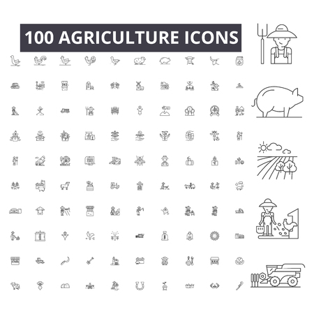 Landwirtschaft bearbeitbare Liniensymbole, 100 Vektorsatz, Sammlung. Landwirtschaft schwarzer Umriss Illustrationen, Zeichen, Symbole