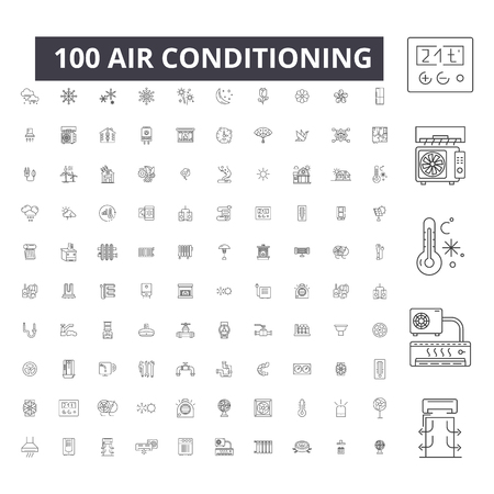 Air conditioning editable line icons, 100 vector set on white background. Air conditioning black outline illustrations, signs, symbols