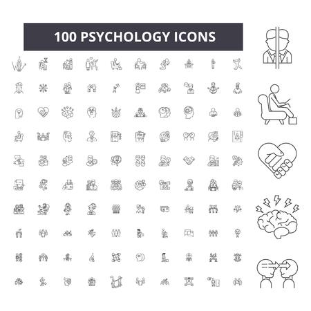Psicologia della linea modificabile icone, 100 vettore impostato su sfondo bianco. Psicologia contorno nero illustrazioni, segni, simboli Vettoriali