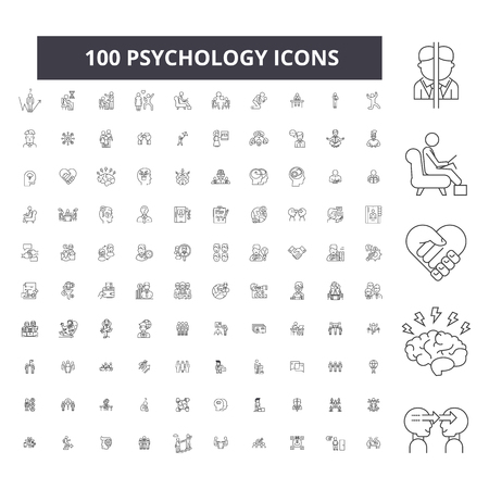 Psychology editable line icons, 100 vector set on white background. Psychology black outline illustrations, signs, symbols
