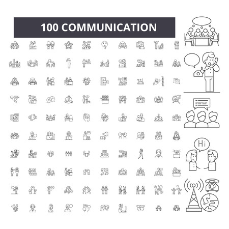 Communication editable line icons, 100 vector set on white background. Communication black outline illustrations, signs, symbols
