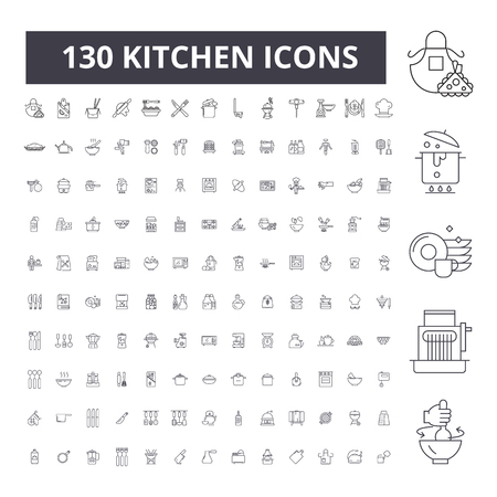 Kitchen editable line icons, 100 vector set on white background. Kitchen black outline illustrations, signs, symbols