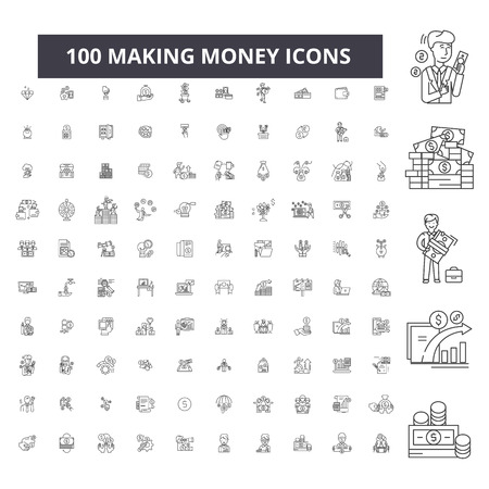 Making money editable line icons, 100 vector set on white background. Making money black outline illustrations, signs, symbols