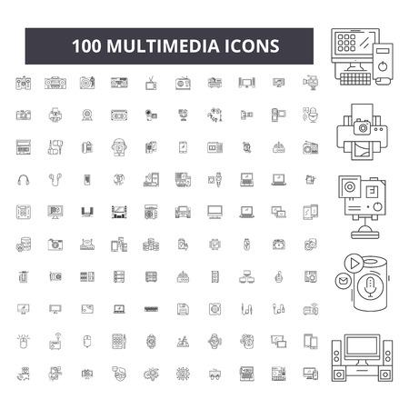 Icônes de ligne modifiables multimédia, 100 vecteurs sur fond blanc. Illustrations de contour noir multimédia, signes, symboles