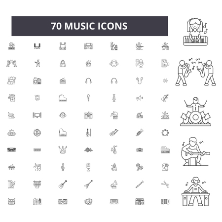 Music editable line icons, 100 vector set on white background. Music black outline illustrations, signs, symbols Illustration