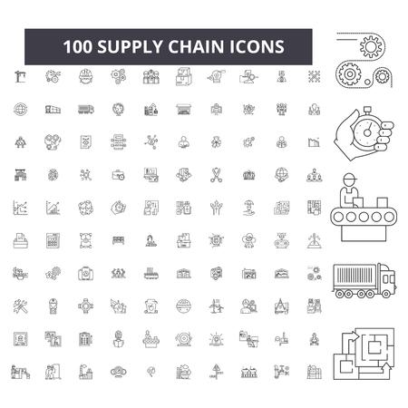 Icone della linea modificabile della catena di approvvigionamento, 100 set di vettore su sfondo bianco. Catena di fornitura contorno nero illustrazioni, segni, simboli
