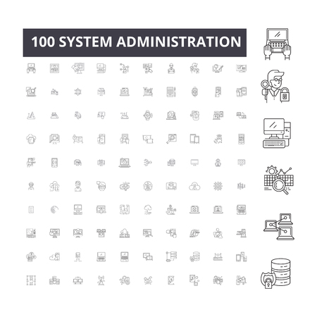 System administration editable line icons, 100 vector set on white background. System administration black outline illustrations, signs, symbols