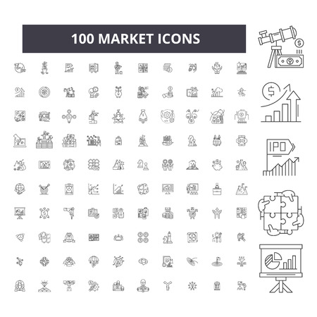 Market editable line icons, 100 vector set on white background. Market black outline illustrations, signs, symbols