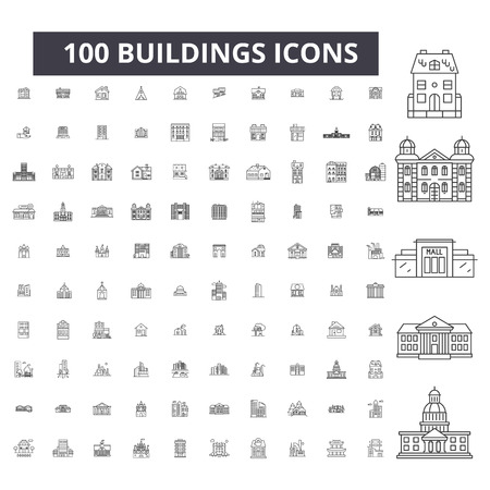 Buildings editable line icons, 100 vector set on white background. Buildings black outline illustrations, signs, symbols