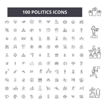 Icônes de ligne modifiable politique, 100 vector set sur fond blanc. Politique contour noir illustrations, signes, symboles