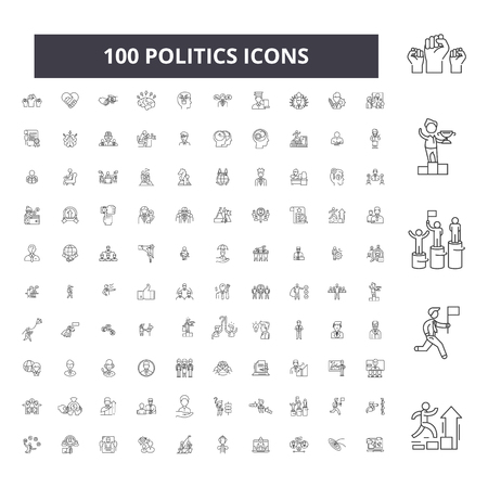 Politics editable line icons, 100 vector set on white background. Politics black outline illustrations, signs, symbols