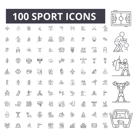 Sport editable line icons, 100 vector set on white background. Sport black outline illustrations, signs, symbols