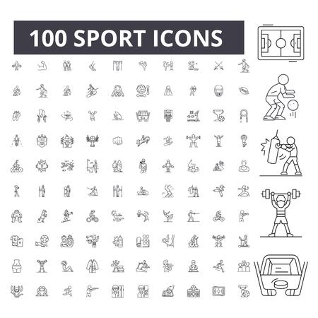 Sport editable line icons, 100 vector set on white background. Sport black outline illustrations, signs, symbols