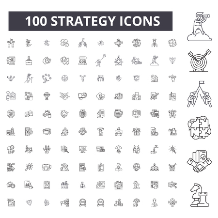 Strategy editable line icons, 100 vector set on white background. Strategy black outline illustrations, signs, symbols Иллюстрация