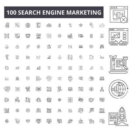 Search engine marketing editable line icons, 100 vector set on white background. Search engine marketing black outline illustrations, signs, symbols Illustration
