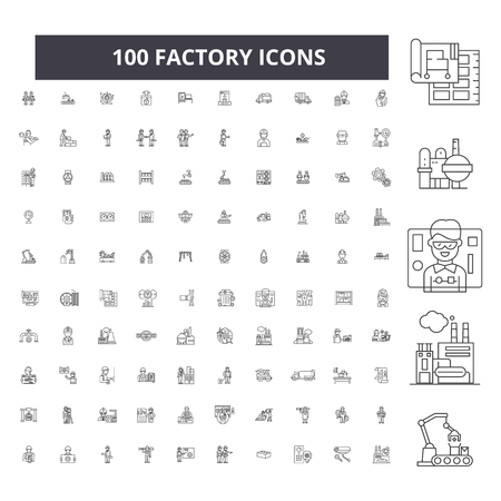 Factory editable line icons, 100 vector set on white background. Factory black outline illustrations, signs, symbols