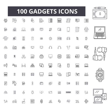 Bearbeitbare Liniensymbole für Gadgets, 100 Vektor-Set auf weißem Hintergrund. Gadgets schwarze Umrissillustrationen, Zeichen, Symbole