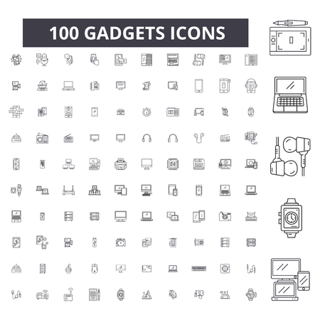 Icônes de ligne modifiables de gadgets, 100 vecteurs sur fond blanc. Gadgets contour noir illustrations, signes, symboles