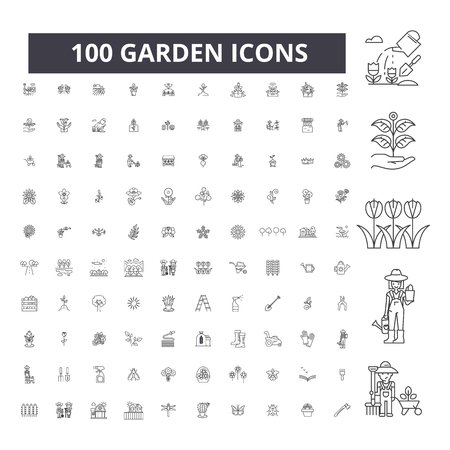 Garden editable line icons, 100 vector set on white background. Garden black outline illustrations, signs, symbols Banco de Imagens - 116431319