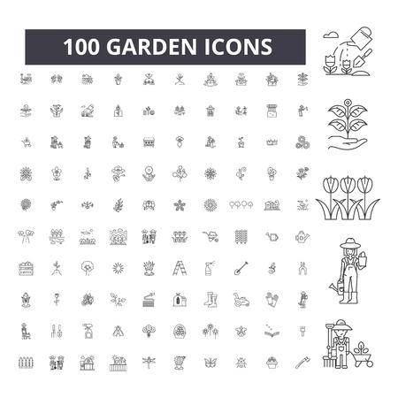 Ogrodowe edytowalne ikony linii, 100 wektor zestaw na białym tle. Ilustracje, znaki, symbole z czarnym konturem ogrodu