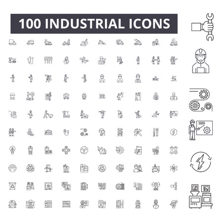 Industrial editable line icons, 100 vector set on white background. Industrial black outline illustrations, signs, symbols Foto de archivo - 116431320