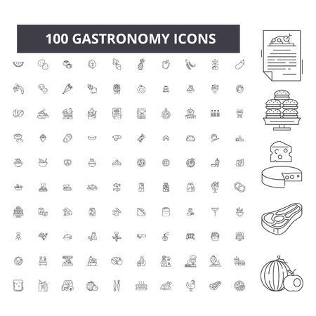 Gastronomy editable line icons, 100 vector set on white background. Gastronomy black outline illustrations, signs, symbols Stock Vector - 116431327