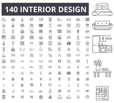 Interieur design bewerkbare lijn iconen, 100 vector set op witte achtergrond. Interieurontwerp zwarte omtrek illustraties, tekens, symbolen