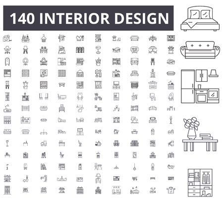 Interior design editable line icons, 100 vector set on white background. Interior design black outline illustrations, signs, symbols Vettoriali