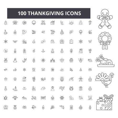 Thankgiving editable line icons, 100 vector set on white background. Thankgiving black outline illustrations, signs, symbols