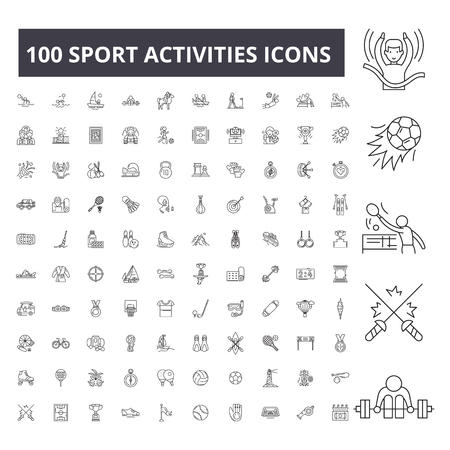 Sport activities editable line icons, 100 vector set on white background. Sport activities black outline illustrations, signs, symbols Illustration
