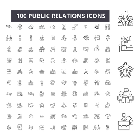 Public relations editable line icons, 100 vector set on white background. Public relations black outline illustrations, signs, symbols